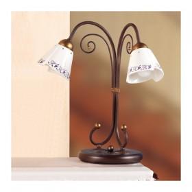 Tischlampe aus schmiedeeisen 2-leuchten mit keramik-platte mit durchbrochener stickerei, vintage-country – Ø 14 cm