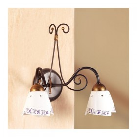 Apliques de pared de la lámpara de hierro forjado y 2 luces con plato decorado vintage país – Ø 14 cm