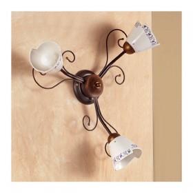 Appliques lampe de mur à 3 lumières, et il est décoré en fer forgé de style champêtre, vintage – Ø 60 cm