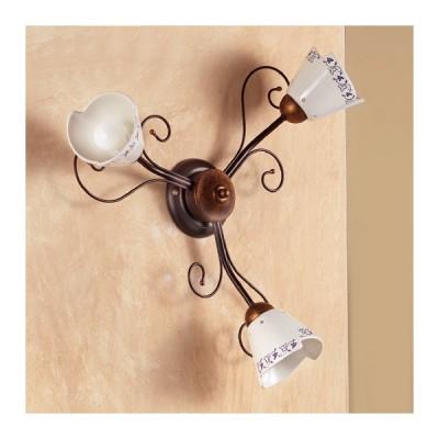 Apliques de lámpara de pared 3 luces y decoración en hierro forjado de estilo rústico vintage – Ø 60 cm