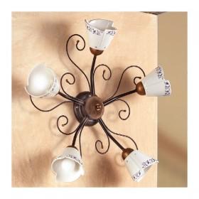 Applique lampada da parete a 5 luci in ferro battuto stile vintage e country – Ø 60 cm