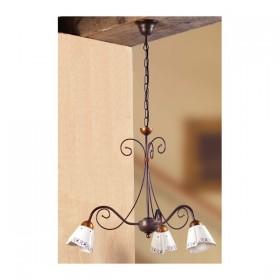 Lampada a sospensione in ferro battutto a 3 luci in ceramica decorato vintage country – Ø 60 cm