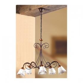 Lampe à Suspension en fer forgé 5 de la lumière décorées de céramique vintage pays – Ø 60 cm