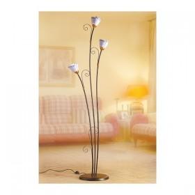 Lampadaire 3 lumières en fer forgé avec plaque décorative, style vintage rustique - h 183 cm
