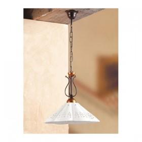 Lampada a sospensione in ferro battuto con piatto in ceramica traforato vintage country – Ø 39 cm