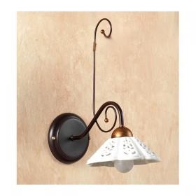 Applique lampada da parete in ferro battuto con piatto in ceramica traforato vintage country – Ø 14 cm
