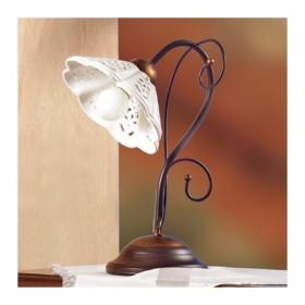 Lampada da tavolo in ferro battuto con piatto in ceramica traforato ondulato rustico country – Ø 14 cm