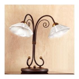 Lampada da tavolo in ferro battuto a 2 luci con piatto in ceramica traforato ondulato vintage country – Ø 14 cm