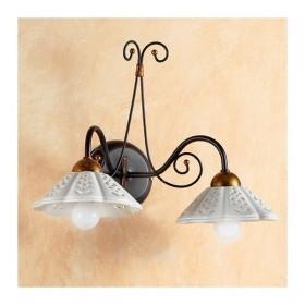 Applique lampe murale en fer forgé 2 feux avec plate-perforé ondulé rétro pays – Ø 14 cm