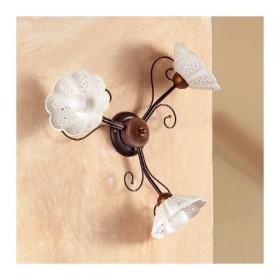 Applique lampada da parete a 3 luci traforata ondulata in ferro battuto stile country vintage – Ø 60 cm