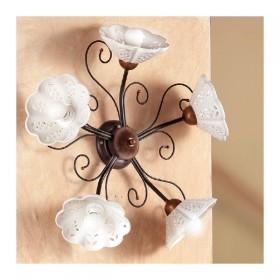 Applique lampada da parete a 5 luci traforata e ondulata in ferro battuto stile vintage e country – Ø 60 cm