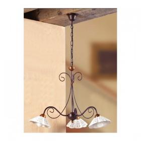 Lampada a sospensione in ferro battutto a 3 luci in ceramica traforato e ondulato vintage country – Ø 60 cm
