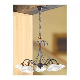 Lampada a sospensione in ferro battuto a 5 luci in ceramica traforato e ondulato vintage country – Ø 60 cm