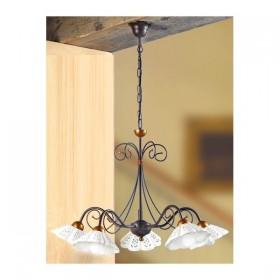Lampe à Suspension en fer forgé 5 lampes en céramique perforée et ondulée vintage pays – Ø 60 cm