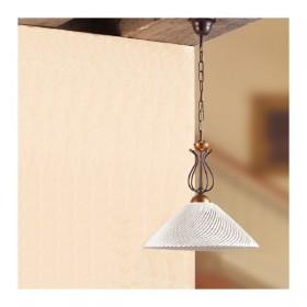 Lampada a sospensione in ferro battuto e paralume in ceramica a spaghetto vintage country – Ø 37 cm