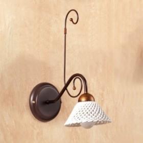 Applique lampada da parete in ferro battuto con piatto in ceramica a spaghetto vintage country – Ø 14 cm