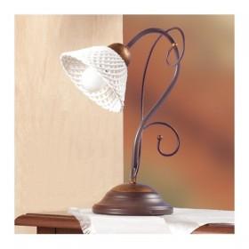 Lampada da tavolo in ferro battuto con piatto in ceramica a spaghetto retrò country – Ø 14 cm