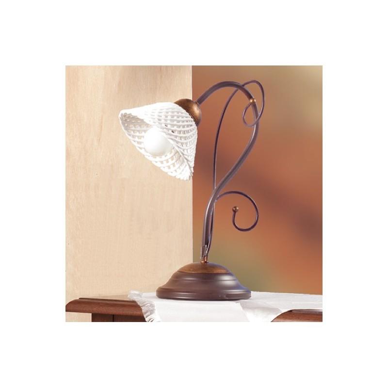 Lampade Da Tavolo Ferro Battuto : Lampada da tavolo in ferro battuto con piatto ceramica