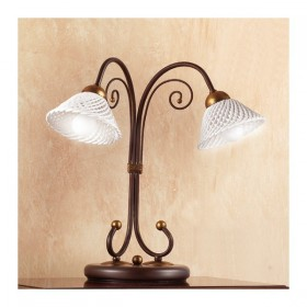 Table lamp made of wrought iron 2 lights with flat ceramic plate of spaghetti with retro country - Ø 14 cm