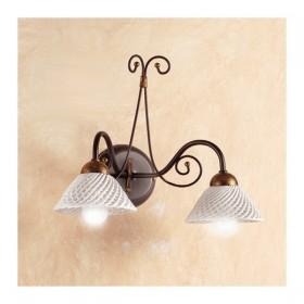 Applique lampada da parete in ferro battuto a 2 luci con piatto in ceramica a spaghetto retrò country – Ø 14 cm