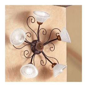 Applique lampada da parete a 5 luci in ferro battuto con piatto a spaghetto stile retrò e country – Ø 60 cm