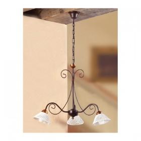 Suspension lamp wrought iron 3-lights ceramic spaghetti vintage retro - Ø 60 cm