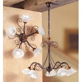 Suspension lamp made of wrought iron 5 lights ceramic spaghetti vintage retro - Ø 60 cm