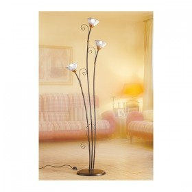 Lampadaire 3 lumières en fer forgé avec des plaques de traités spaghetti style vintage rustique - h 183 cm
