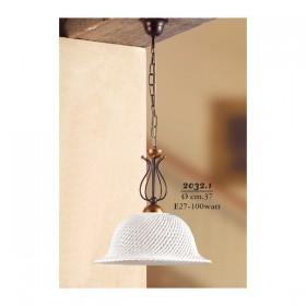 Lampada a sospensione e paralume in ceramica a spaghetto retrò country – Ø 37 cm