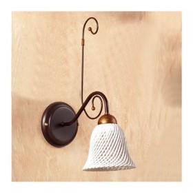 Applique lampada da parete con diffusore in ceramica a campanella a spaghetto retrò country – Ø 14 cm