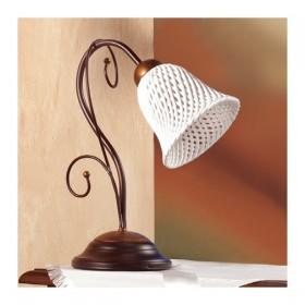 Lampada da tavolo con diffusore in ceramica a campanella a spaghetto retrò country – Ø 14 cm