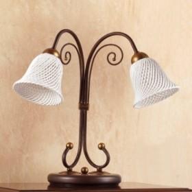 Lampada da tavolo a 2 luci con piatto in ceramica a campanella a spaghetto vintage country – Ø 14 cm
