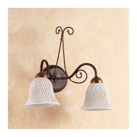 Applique lampada da parete a 2 luci con piatto in ceramica a campanella a spaghetto retrò country – Ø 14 cm