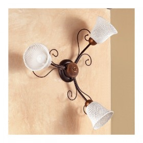 Applique lampada da parete a 3 luci con piatto a campanella a spaghetto country vintage – Ø 60 cm