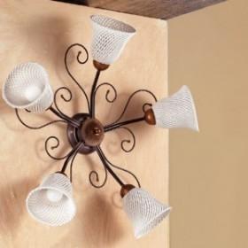 Applique lampada da parete a 5 luci con piatto a campanella a spaghetto stile retrò e country – Ø 60 cm