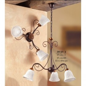 Suspension lamp 3 lights in ceramic bell-shaped to spaghetti vintage retro - Ø 60 cm