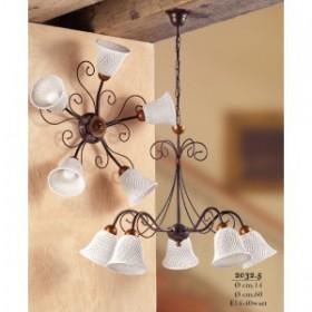 Suspension lamp 5 lights ceramic bell to spaghetti vintage retro - Ø 60 cm