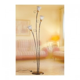 Floor lamp 3 lights in wrought iron with dishes bell worked at spaghetti vintage-style rustic - h 183 cm