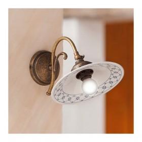 Wandleuchter wandlampe in messing und schirm aus keramik dekoriert im vintage-stil – Ø 21 cm