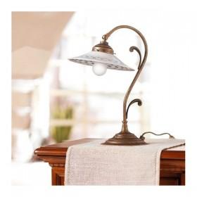 Lampada da tavolo in ottone e paralume in ceramica liscia decorata stile country – Ø 21 cm