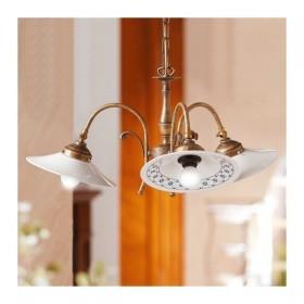 Lampe à Suspension 3 lumières en laiton et abat-jour décoré de céramique rétro pays – Ø 58 cm