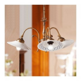 Suspension lamp 3 lights in brass and with lampshades decorated ceramic retro country - Ø 58 cm