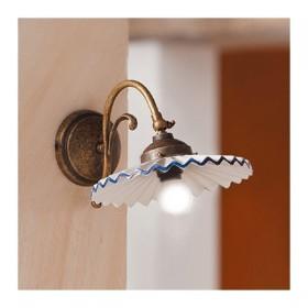 Appliques lampe de mur en laiton et abat-jour en céramique plissée style vintage – Ø 21 cm