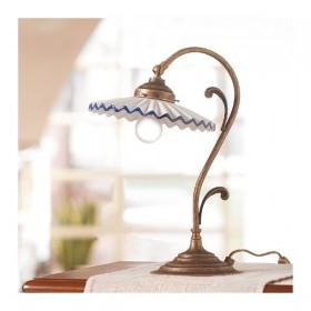 Lampe de Table en laiton et abat-jour en céramique, plissée style pays – Ø 21 cm