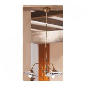 Lampe à Suspension 3 lumières en laiton avec des nuances en céramique, plissé, rétro-pays – Ø 58 cm