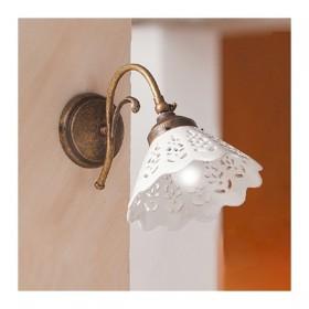 Appliques lampe de mur en laiton et abat-jour en céramique-par le biais de style vintage – Ø 18 cm