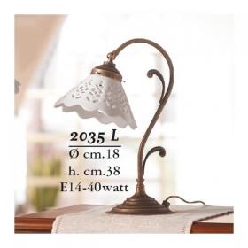 Lampada da tavolo in ottone e paralume in ceramica traforato stile country – Ø 18 cm