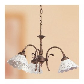 Hängeleuchte 3 lichter-messing mit lampenschirmen aus keramik mit perforiertem retro-country – Ø 58 cm