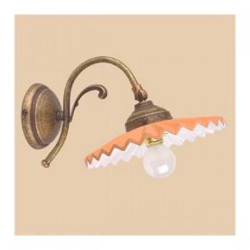 Appliques lampe de mur en laiton et abat-jour en terre cuite plissée style rétro – Ø 21 cm