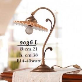 Lampada da tavolo in ottone e paralume in cotto plisettato vintage retrò – Ø 21 cm